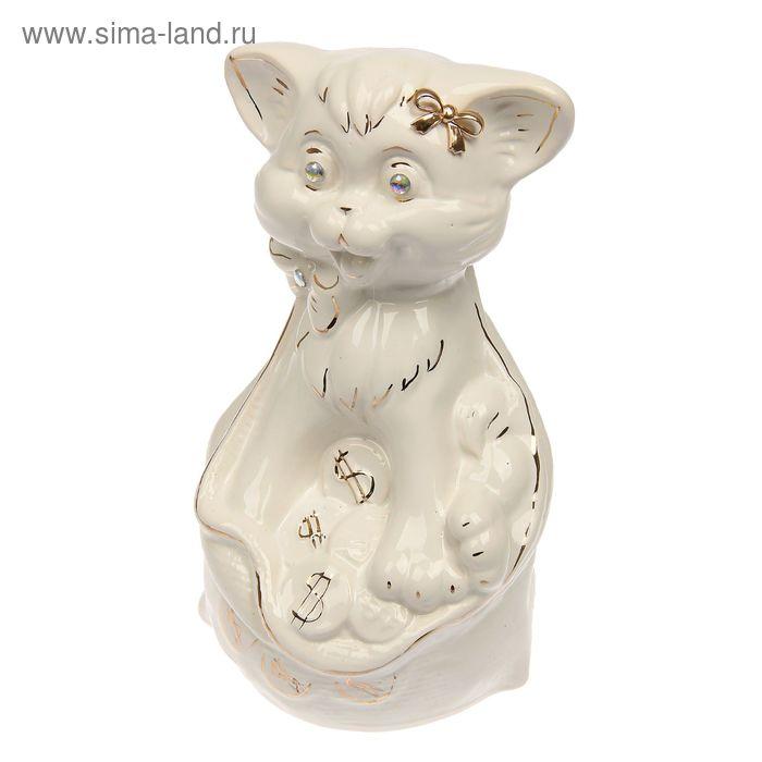 """Копилка """"Кот в мешке"""" глазурь, белая"""