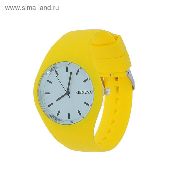 Часы наручные женские силиконовый ремешок и корпус желтого цвета, Geneva