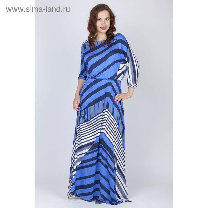 Платье женское Y0103-0155, цвет сине-серый полоска ассиметрия, размер44/170