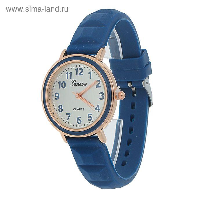 Часы наручные жен Женева, ремешок силиконовый синий