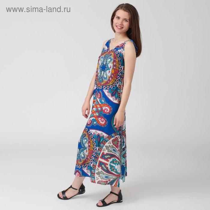 Платье женское, цветной принт, размер 54, рост 170 см (арт. Y1359-0102 С+)