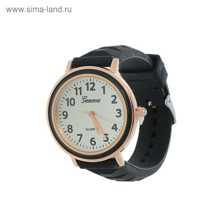 Часы наручные жен Женева, ремешок силикон черн