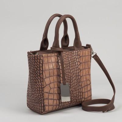 Сумка женская на молнии, 1 отдел, 1 наружный карман, коричневая