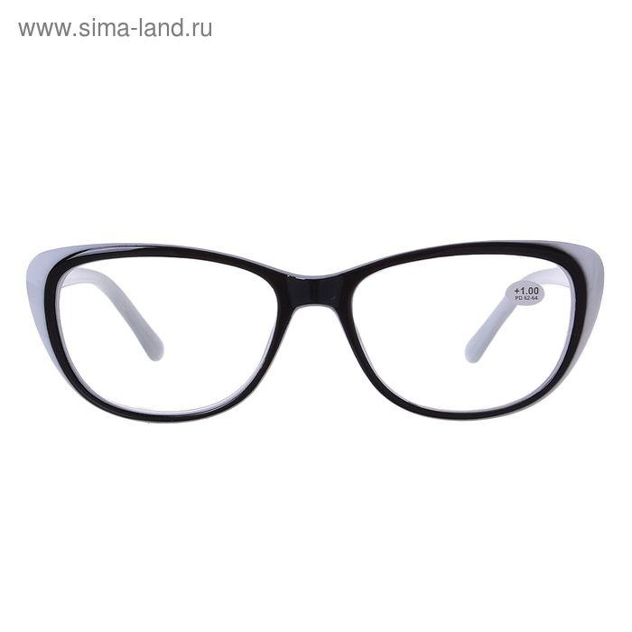 "Очки ""Бабочки"", пластик, цвет бело-чёрный, +1 дптр, 62-64 мм"
