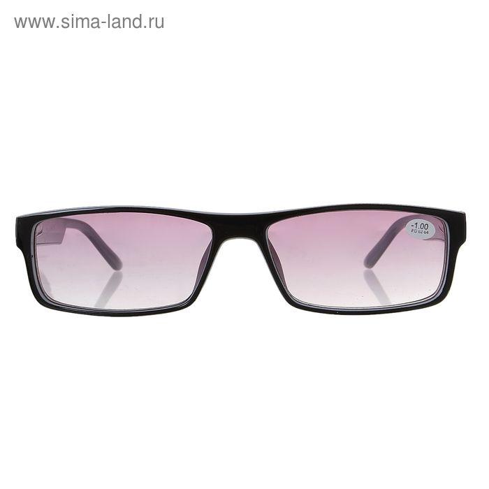 """Очки """"Прямоугольные"""", пластик, тонированная линза, цвет чёрно-белый, -1 дптр, 62-64 мм"""