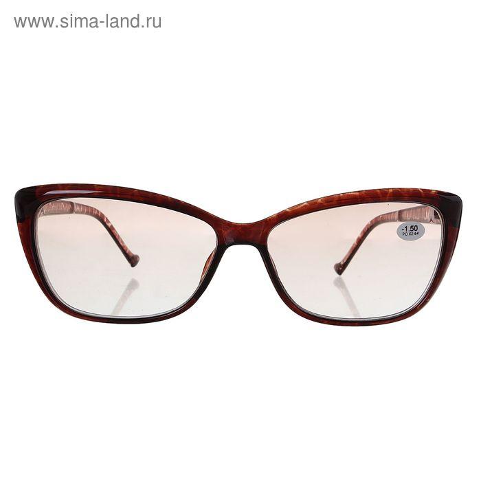 """Очки """"Бабочки"""", пластик, тонированная линза, цвет коричневый, -1,5 дптр, 62-64 мм"""
