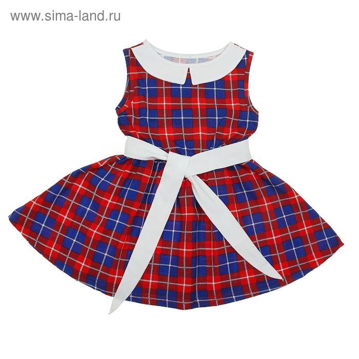 """Платье """"Летний блюз"""", рост 134 см (68), цвет красный, принт клетка (арт. ДПБ983001н)"""