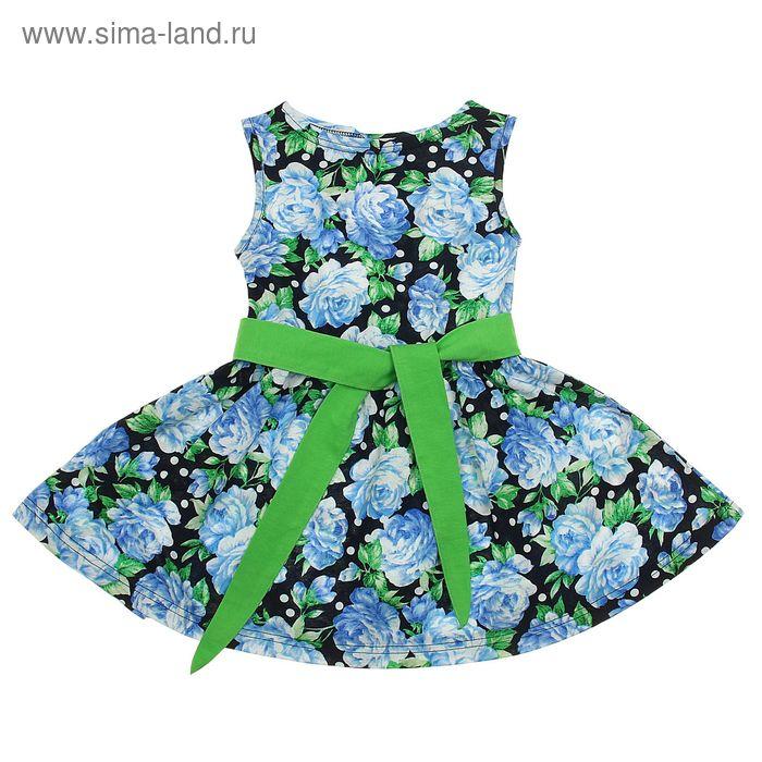 """Платье """"Летний блюз"""", рост 110 см (56), цвет светло-зелёный, принт голубые пионы (арт. ДПБ931001н)"""