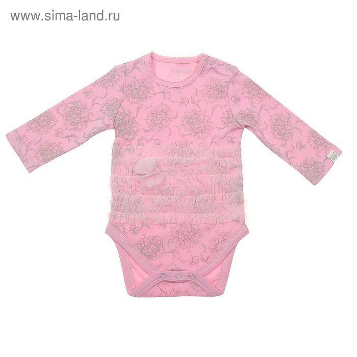 Боди с длинным рукавом для девочки, рост 80 см (48), цвет розовый (арт. ZBG 13332-P)