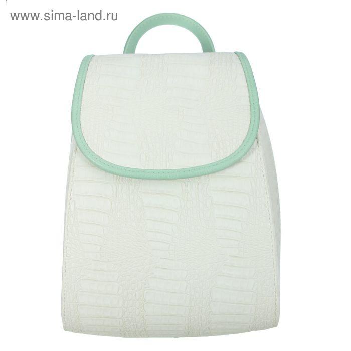 Рюкзак молодёжный на молнии, 1 отдел, белый/мятный