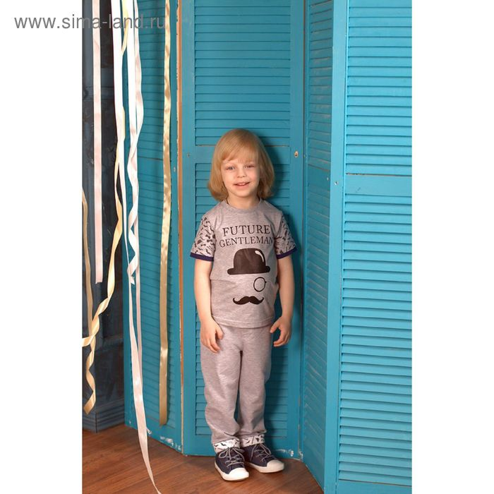 Футболка для мальчика, рост 80 см (48), цвет серый меланж (арт. ZBB 02142-GG0)