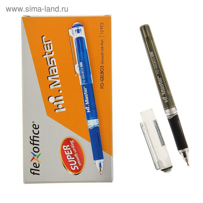 Ручка гелевая FlexOffice Hi Master, металлический клип, резиновый упор, узел-игла 0.7, черная