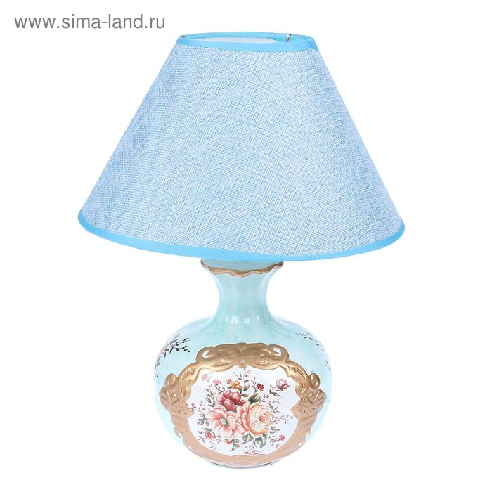 """Лампа настольная """"Цветочный букет"""" светлый циан"""