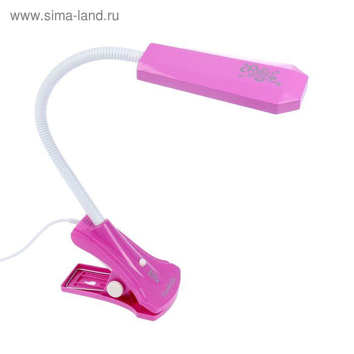"""Настольная светодиодная USB-лампа на прищепке """"Школьник"""" розовая, 18 диодов"""