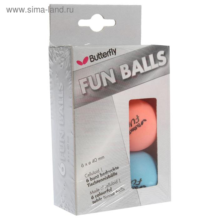 Мяч для наст. тенниса Butterfly Fun, диам 40 мм, упак. 6 шт, мультиколор