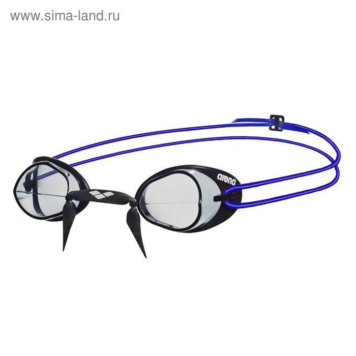 Очки для плавания ARENA Swedix, прозрачные линзы, регулируемая переносица, чёрная оправа