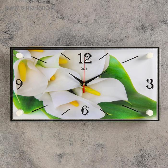 "Часы настенные прямоугольные ""Белые каллы"", 19х39 см"