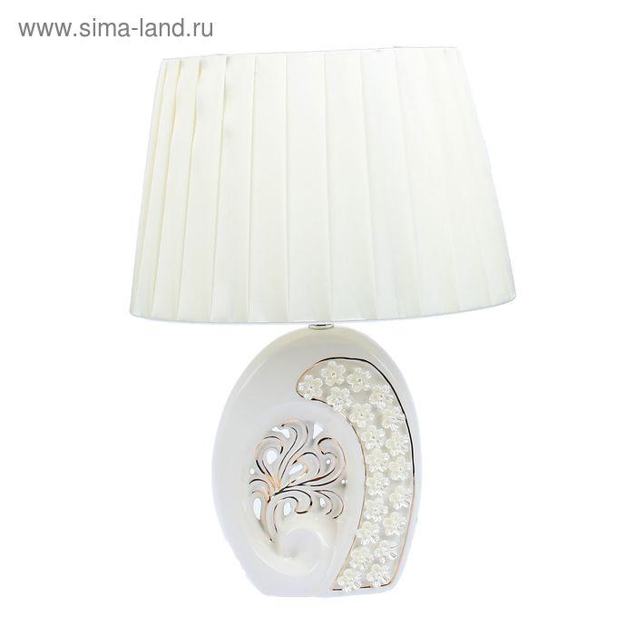 """Лампа настольная керамика """"Незабудки"""" белая с золотистым тиснением"""