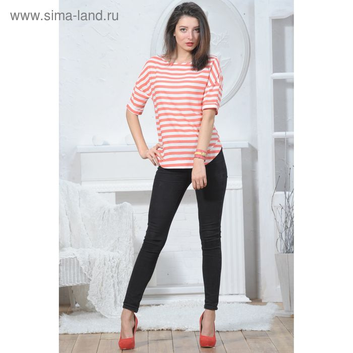 Блуза 4945а, размер 46, рост 164 см, цвет персик/белый