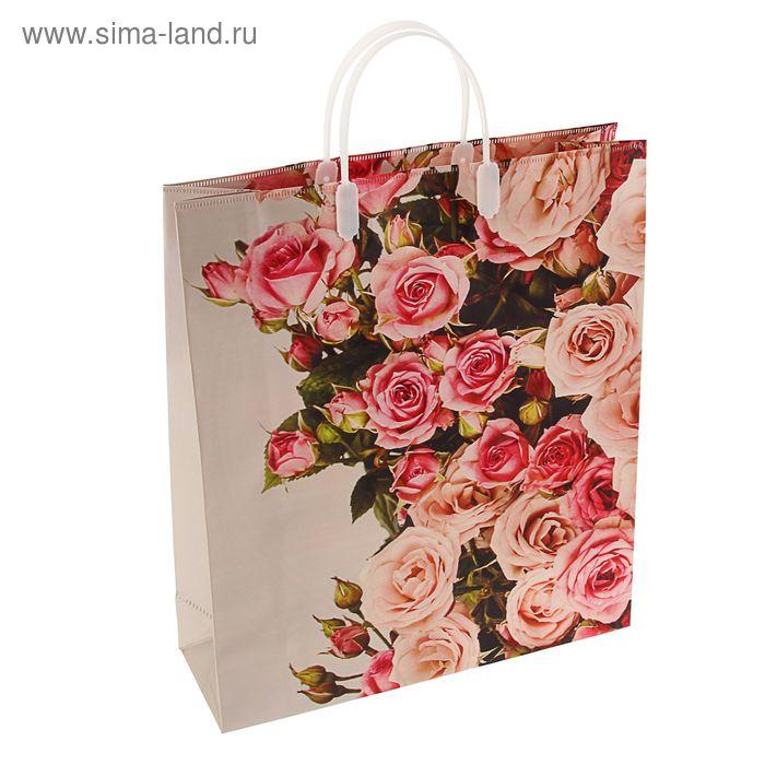"""Пакет """"Великолепие роз"""", мягкий пластик, объемный 40х32 см"""