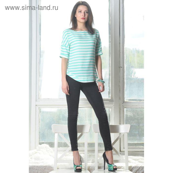 Блуза, размер 52, рост 164 см, цвет мята/белый (арт. 4945 С+)