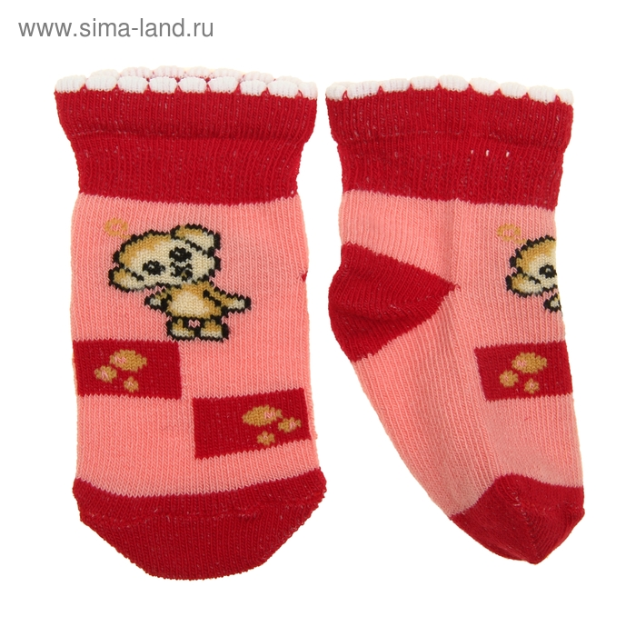 Носки детские, размер 9-10, цвет коралловый 2ЛС112
