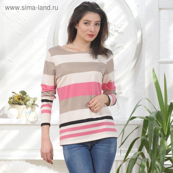 Блуза, размер 46, рост 164 см, цвет кремовый/розовый/беж (4856а)