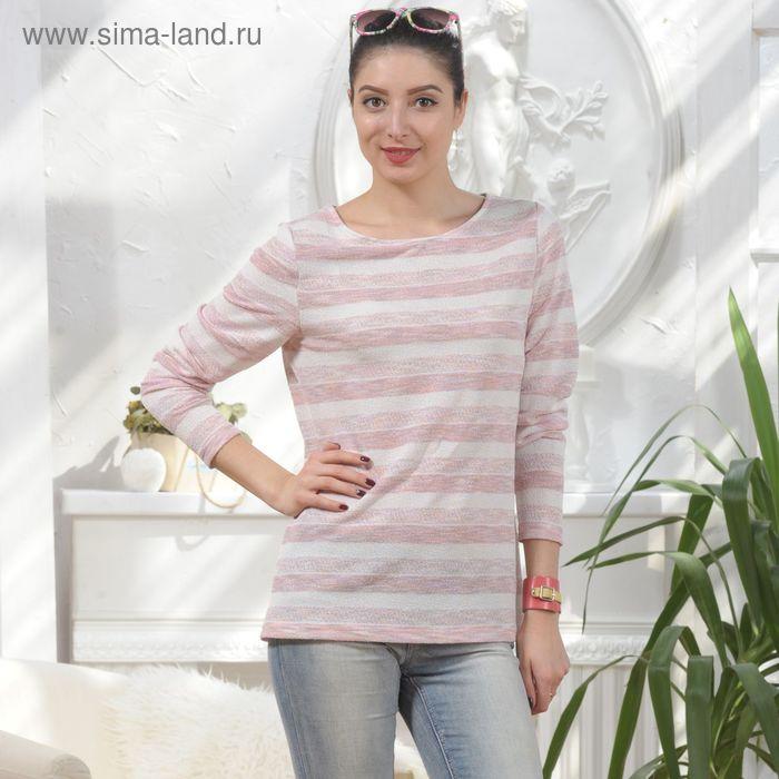 Блуза, размер 50, рост 164 см, цвет молочный/розовый (арт. 4868 С+)