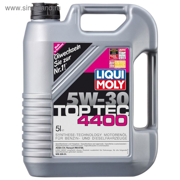 Моторное масло Liqui Moly Top Tec 4400 5W-30 ACEA C4, 5 л