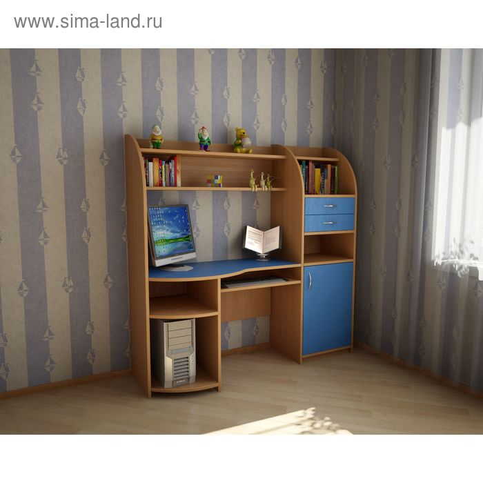 Компьютерный стол Уголок Школьника 1610х410х1610 Бук Бавария+голубой
