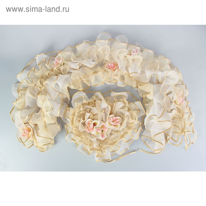 Украшение на машину двойной рюш из вуаля, бело-бежевый с персик. розами