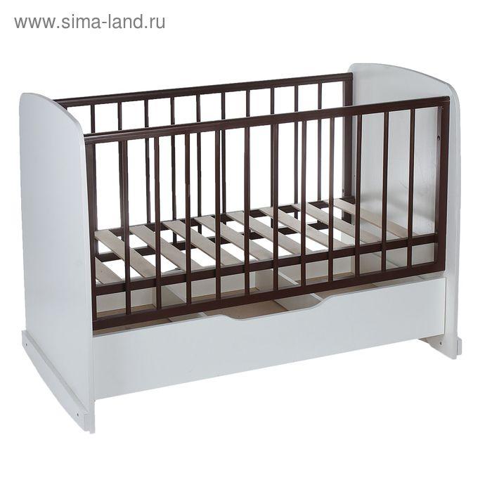 Детская кроватка «Сашенька» с ящиком, цвет белый/орех