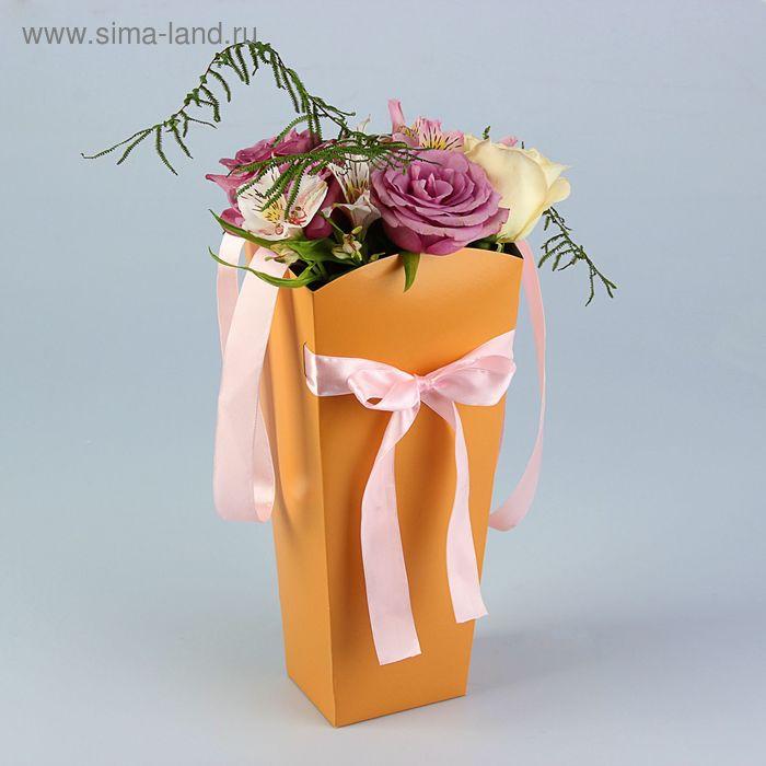 Пакет для цветов коралловый, 32х15х13 см