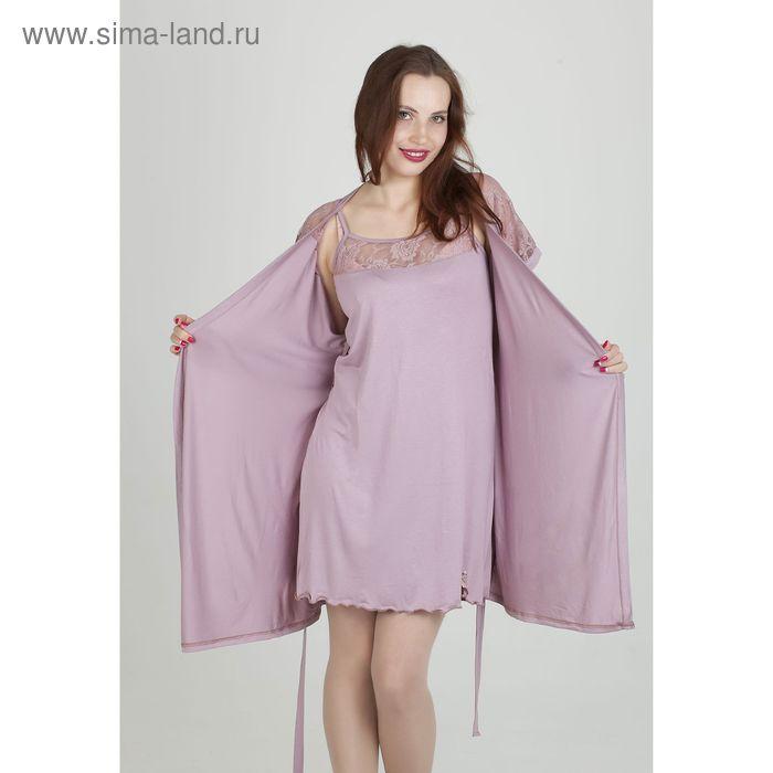 Комплект женский (сорочка, халат) арт.851 цвет сухая роза, р-р 46