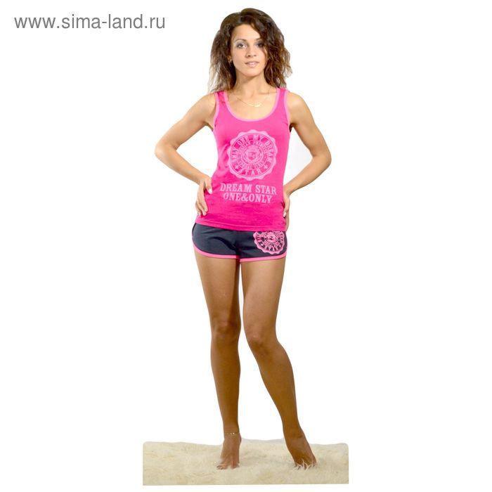 Комплект женский (майка, шорты) Фэшн цвет малиновый, р-р 48