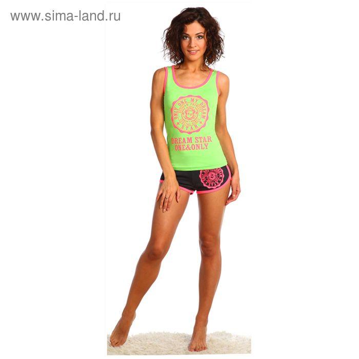 Комплект женский (майка, шорты) Фэшн цвет салатовый, р-р 46