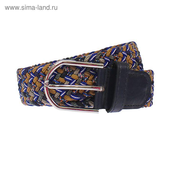 Ремень мужской, пряжка под металл, ширина - 3,5см, синий/бежевый