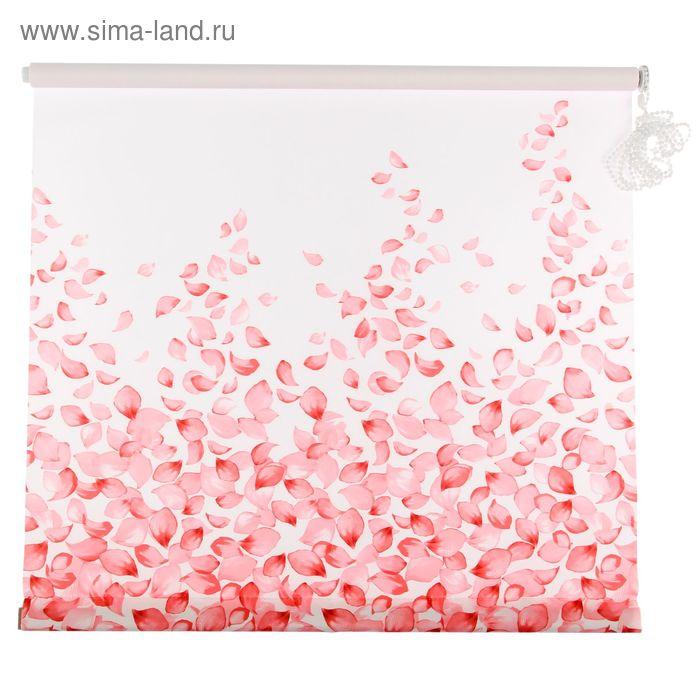 """Ролет штора 120х160 см """"Лепестки"""", цвет розовый"""