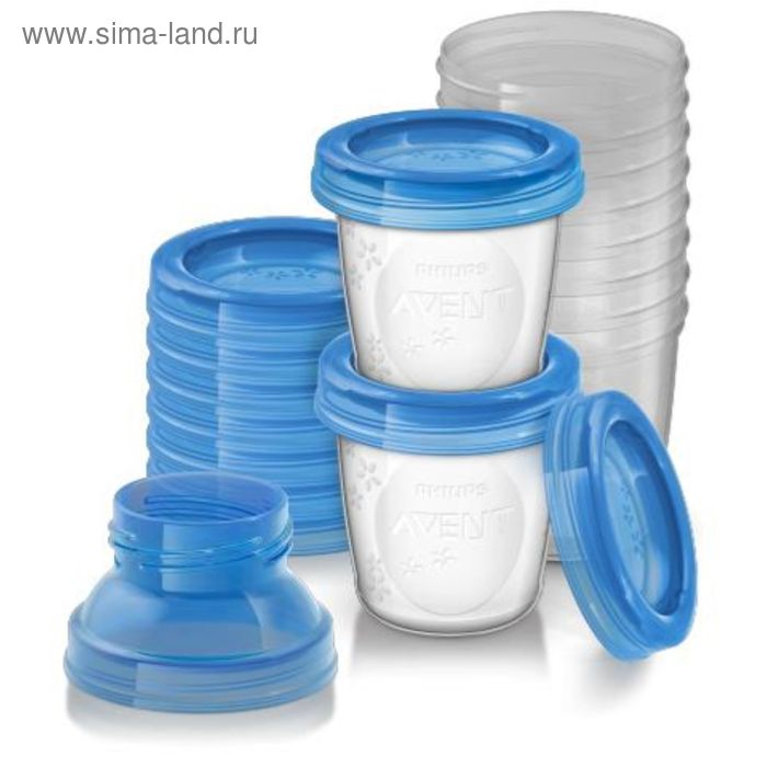 Контейнеры для хранения грудного молока Avent, 10 шт., с двумя адаптерами