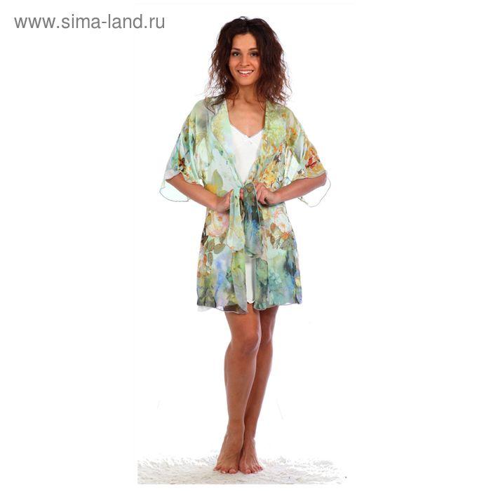 Комплект женский (сорочка, халат) Эммануэль цвет бирюзовый, р-р 50
