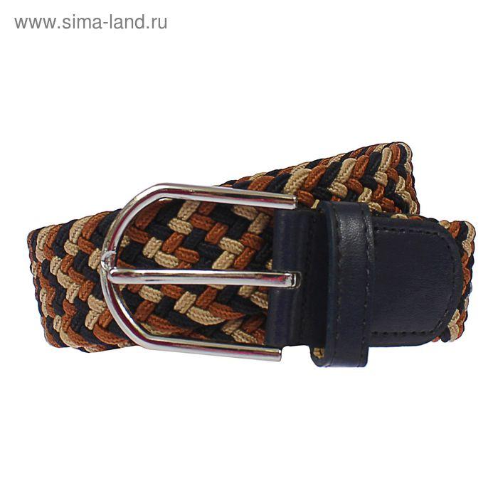 Ремень мужской, пряжка под металл, ширина - 3,5см, коричневый/бежевый