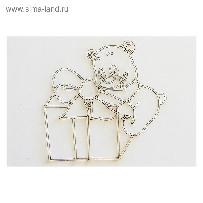 """Трафарет-открытка """"мишка с подарком"""" А3"""