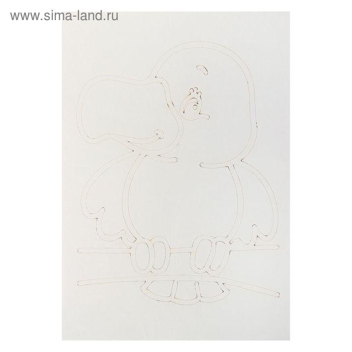 "Трафарет-открытка ""Попугай"" А5"