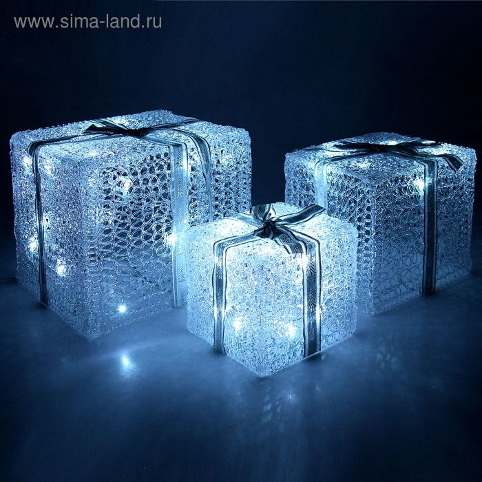 "Фигура акрил. ""Подарки"" Кубы 15х20х25 см, 54 LED, 220V БЕЛЫЙ"