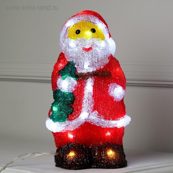 "Фигура акрил. ""Дед мороз с елкой"" 16х13х29 см, контроллер с димером, 30 LED, 220V"