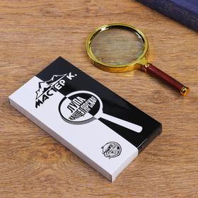 Лупа 6х, d=9 см, пластик, с коричневой ручкой, золотая