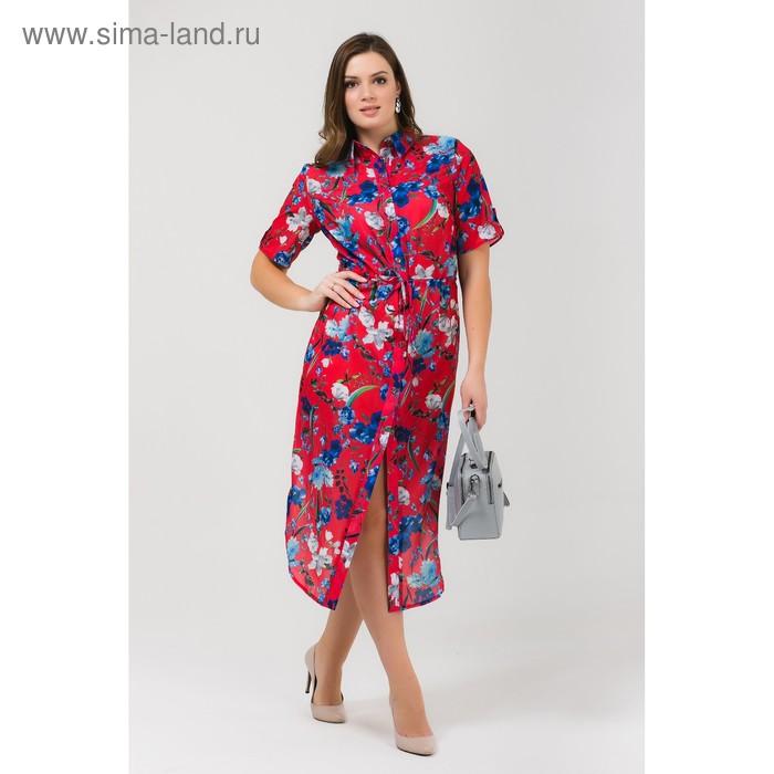 Платье женское, размер, 52 рост, 168 цвет арбуз (арт. 17252 С+)
