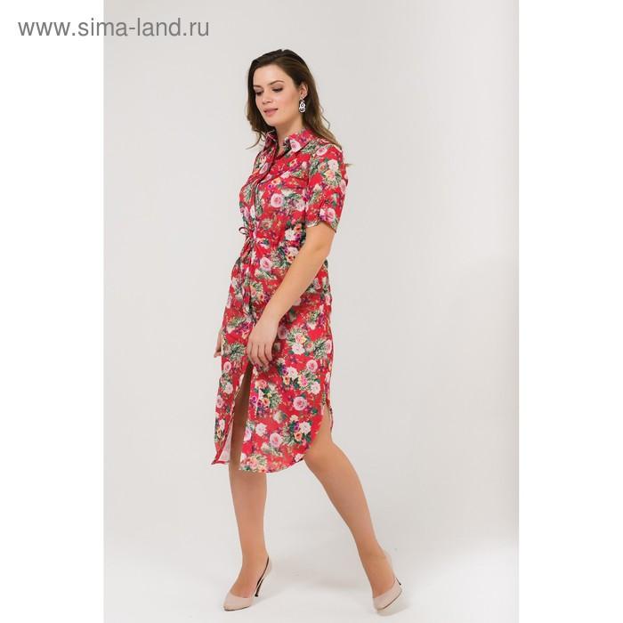 Платье женское, размер 52, рост 168, цвет красный (арт. 17252 С+)