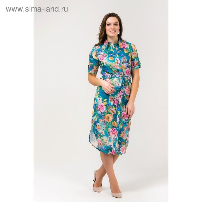 Платье женское, размер 52, рост 168, цвет бирюза (арт. 17252 С+)
