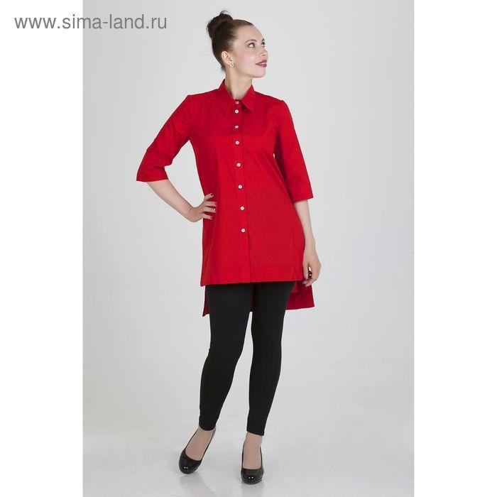 Платье женское, размер 56, рост 168,цвет красный х/б (арт.17247 С+)